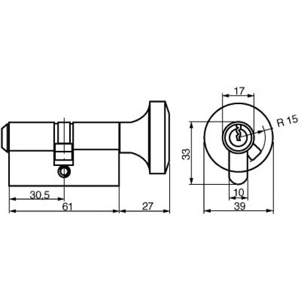 Ruko profilcylinder RG1602, Garant Plus m/stor knop og m/sikkerhedskort og nøgler-02