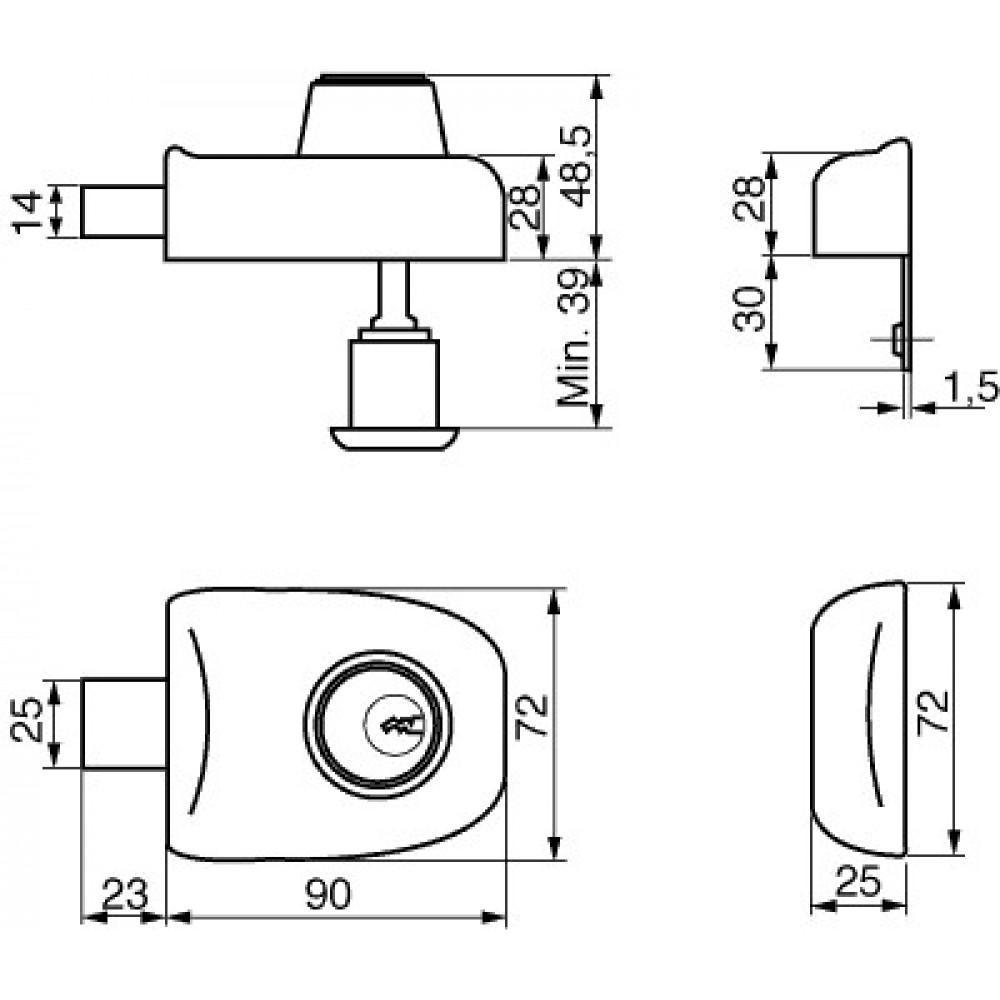 Ruko kasselås m/cylinder RG1622, Garant Plus (sort) u/sikkerhedskort og nøgler-01