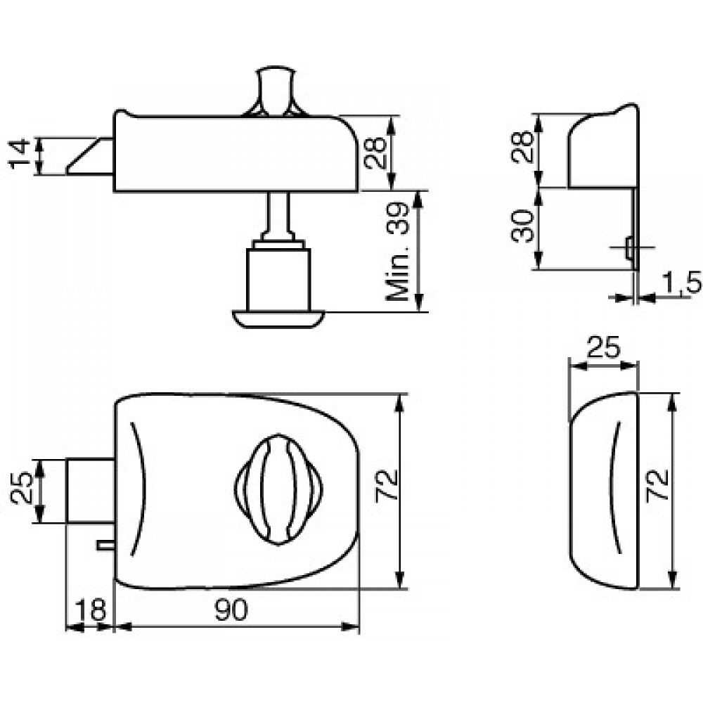 Ruko RD1601 GDS Kasselås med cylinder, udadgående-02