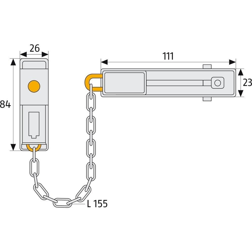 Abus sikkerhedskæde sk78 m/lås sb.(Sølv)-01