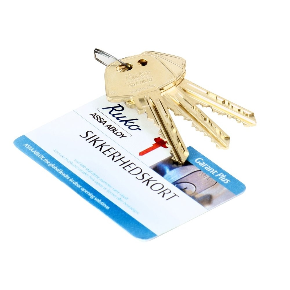 Garant Plus 3 stk. nøgler + 1 stk. sikkerhedskort nikkelfri